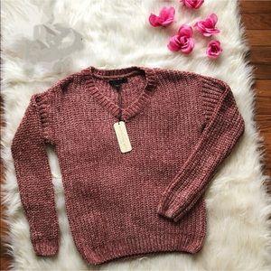 Love Tree- V-Neck Sweater   Pink